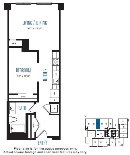 Floor Plan  O7 1 Bed 1 Bath Floor Plan at Stratus, Seattle, WA