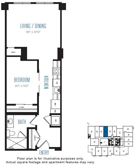 Floor Plan  O8 1 Bed 1 Bath Floor Plan at Stratus, Seattle, WA