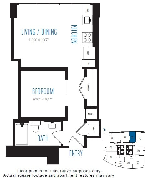 Floor Plan  O9 1 Bed 1 Bath Floor Plan at Stratus, Seattle, WA