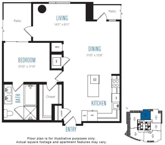 Floor Plan  P2 1 Bed 1 Bath Floor Plan at Stratus, Seattle, WA
