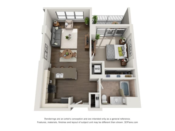 1 Bed 1 Bath Plan 1d Floor Plan at The Madison at Racine, Chicago, 60607