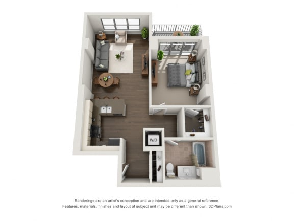 1 Bed 1 Bath Plan 1J Floor Plan at The Madison at Racine, Chicago