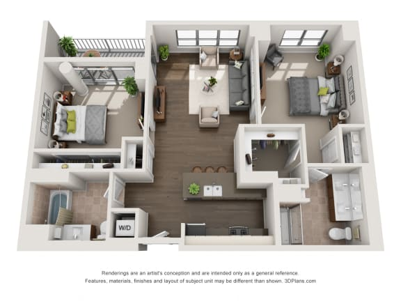 2 Bed 2 Bath Plan2C Floor Plan at The Madison at Racine, Chicago, 60607