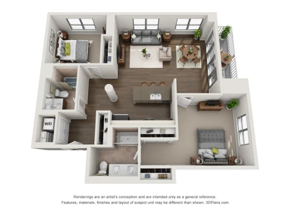 2 Bed 2 Bath Plan2J Floor Plan at The Madison at Racine, Chicago, IL