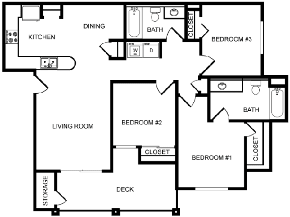 Desert Sands three bedroom floor plan.