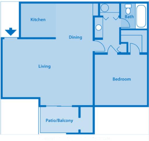 Estancia 1B One Bedroom Floor Plan