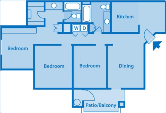 Estancia 3A Three Bedroom 2D Floor Plan