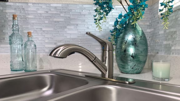 Brush Nickle Finish Kitchen Sink at La Reserve Apartment Homes