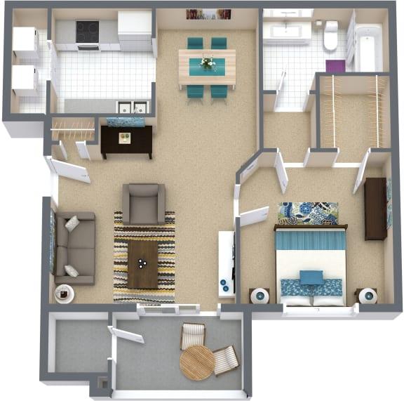 Floor Plan  1 Bd 1 Bth