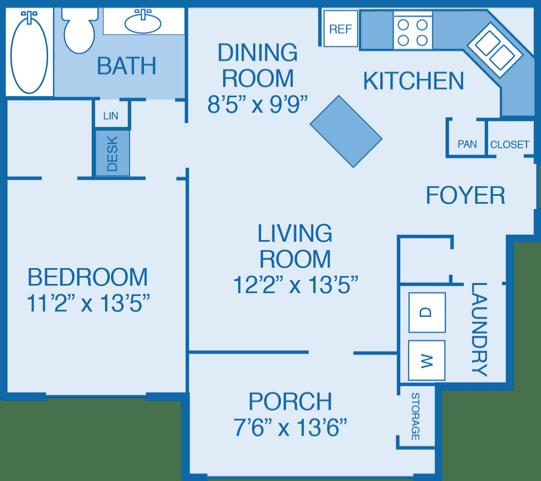 Oakwood Floor Plan at Walden Legacy Apartments, Tennessee, 37931