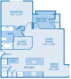 Naples Floor Plan at Summercrest Apartments, Burleson, TX, 76028
