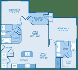Sicily Floor Plan at Summercrest Apartments, Burleson, 76028