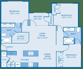 Tuscany Floor Plan at Summercrest Apartments, Burleson, Texas