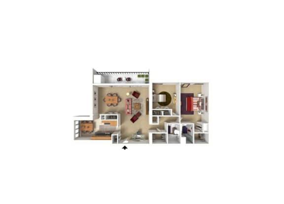 Horizon Square 2 Bedroom 2 Bath 1,216 Sqft. Model Floor Plan
