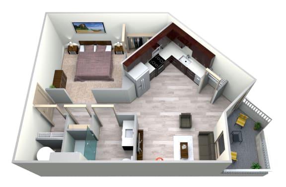 Floor Plan  Cobalt Floor Plan at Azure Houston Apartments, Texas, 77007