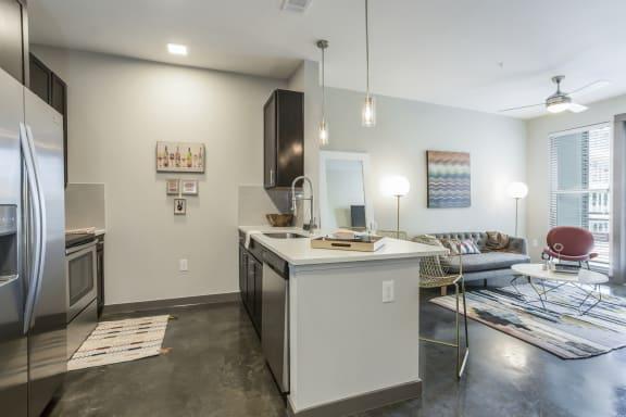 Quartz Countertops Highlight Stylish Kitchens at Azure Houston Apartments, Houston, 77007