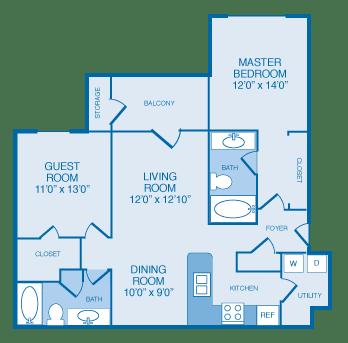 B2B Floorplan at The Legends at Indian Springs, Louisville, Kentucky
