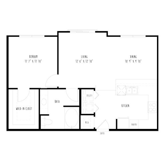 Floor Plan  A7: 1 Bedroom, 1 Bathroom Apartment