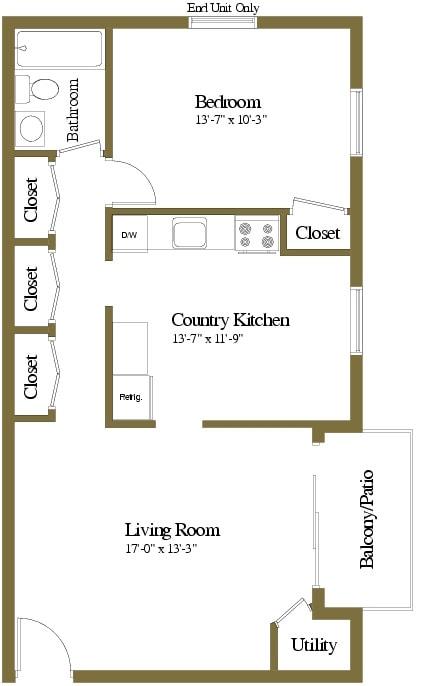 1 bedroom 1 bathroom floor plan at Security Park Apartments in Windsor Mill, MD