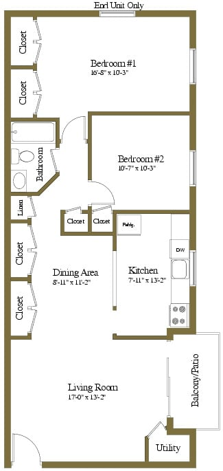2 bedroom 1 bathroom Assateague floor plan at Security Park Apartments in Windsor Mill, MD