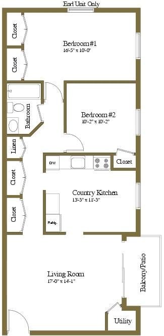 2 bedroom 1 bathroom Montgomery floor plan at Security Park Apartments in Windsor Mill, MD