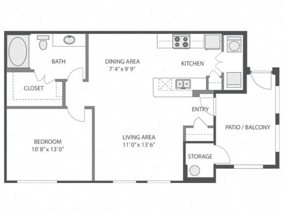 Boxwood – 1 Bedroom 1 Bath Floor Plan Layout – 743 Square Feet