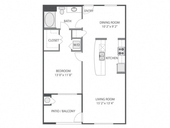 Longwood – 1 Bedroom 1 Bath Floor Plan Layout – 861Square Feet