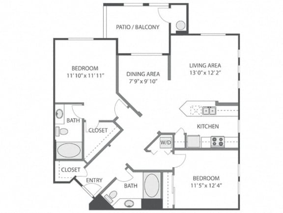 Belengrath – 2 Bedroom 2 Bath Floor Plan Layout – 1161 Square Feet