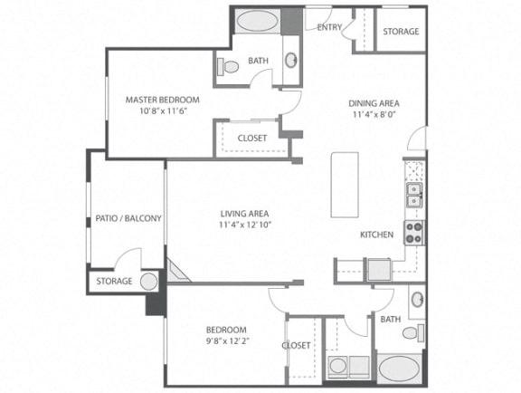 Bloedel with Garage – 2 Bedroom 2 Bath Floor Plan Layout – 1218 Square Feet