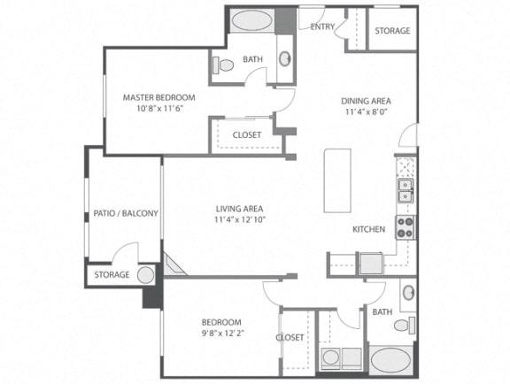 Bloedel – 2 Bedroom 2 Bath Floor Plan Layout – 1218 Square Feet