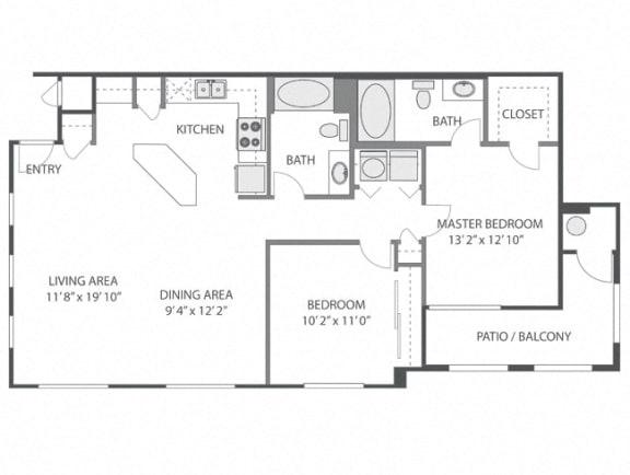 Callaway – 2 Bedroom 2 Bath Floor Plan Layout – 1093 Square Feet