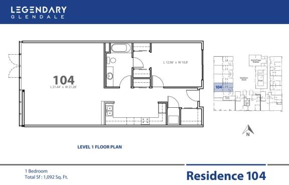 Floor Plan 104 at Legendary Glendale Apartments, Luxury Apts in Glendale, California