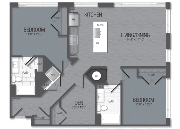 M.2D3/den Floor Plan at TENmflats, Columbia, Maryland