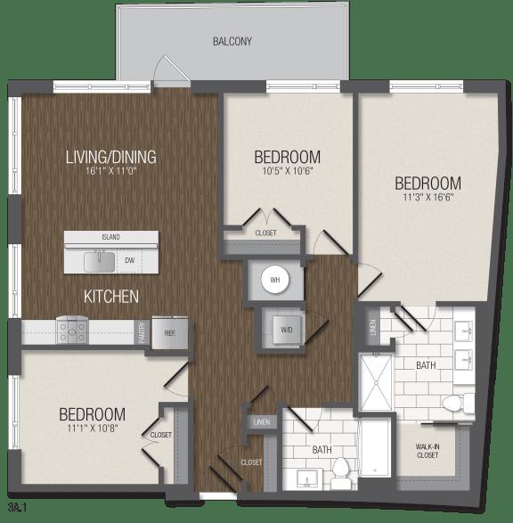 T.3A1 Floor Plan at TENmflats, Columbia, 21044
