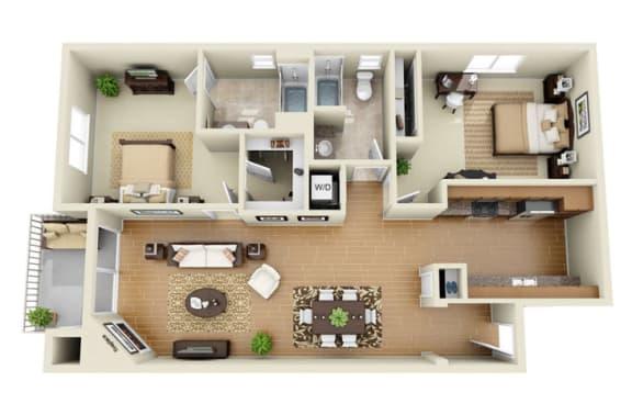 The Beverly Plus Loft 2 Bedroom 2 Bath 3D Floor Plan at The Verandas, Canoga Park, CA, 91304