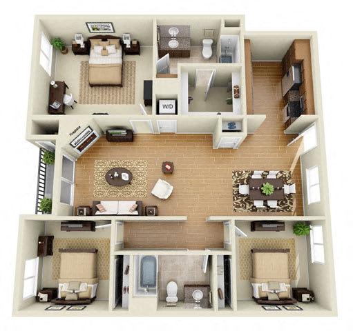 The Grand 3 Bedroom 2 Bath 3D Floor Plan at The Verandas, California