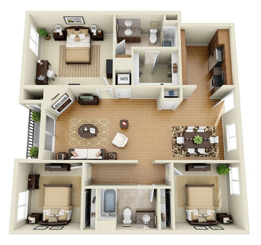 The Grand Plus Loft 3 Bedroom 2 Bath 3D Floor Plan at The Verandas, Canoga Park