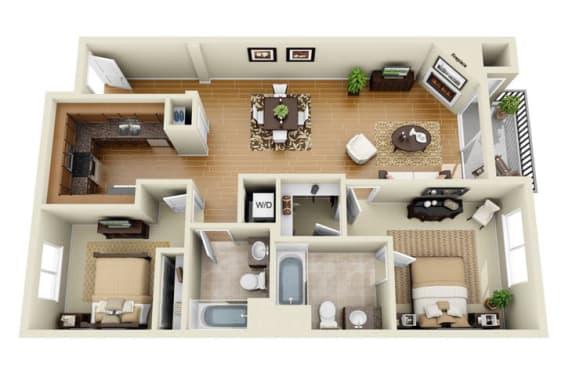 The Wilshire Plus Loft 2 Bedroom 2 Bath 3D Floor Plan at The Verandas, California