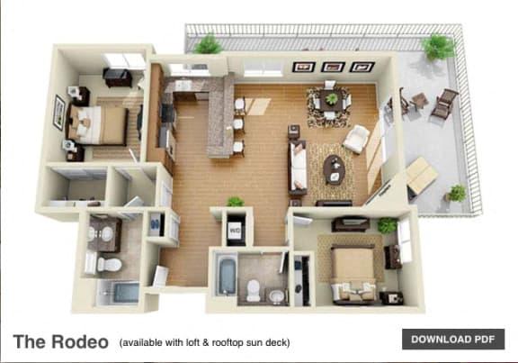 The Rodeo 2 Bedroom 2 Bath 3D Floor Plan at The Verandas, Canoga Park, 91304