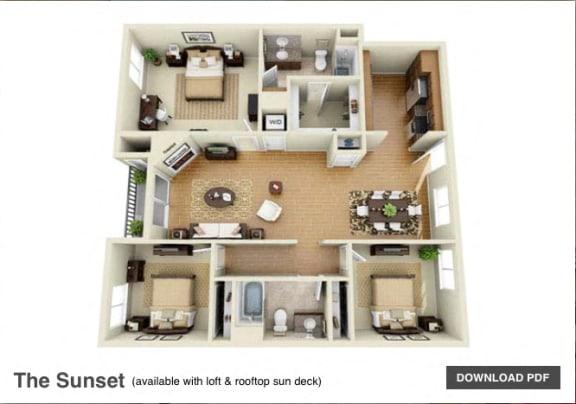 The Sunset 3 Bedroom 2 Bath 3D Floor Plan at The Verandas, Canoga Park