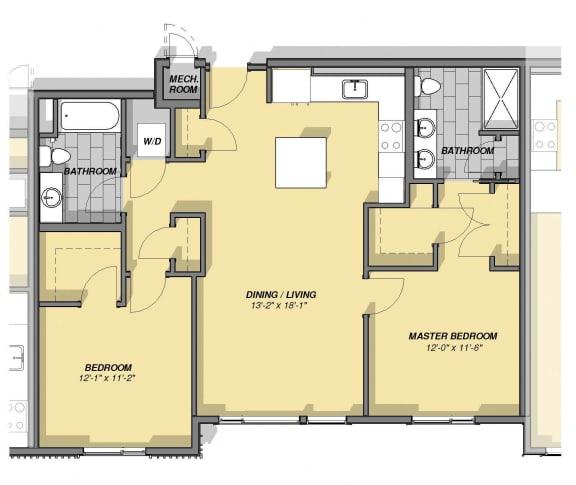 2 Bedroom 2 Bathroom Floor Plan at Park77, Massachusetts