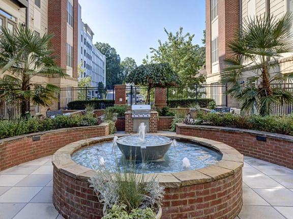 Fountain in Garden at 712 Tucker, Raleigh, North Carolina