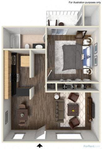 Floorplan at Fountain Plaza Apartments, 2345 N. Craycroft, Tucson, AZ