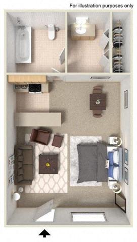 Floorplan at Fountain Plaza Apartments, Tucson, Arizona