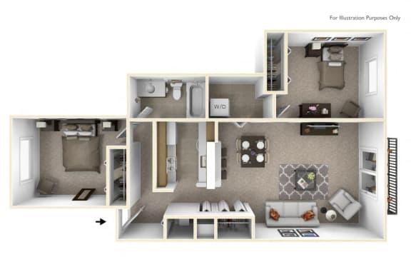 2-Bed/1-Bath, Azalea Floor Plan at The Springs Apartment Homes, Novi, MI, 48377