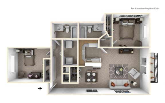 2-Bed/2-Bath, Bouvardia Floor Plan at The Springs Apartment Homes, Novi, MI