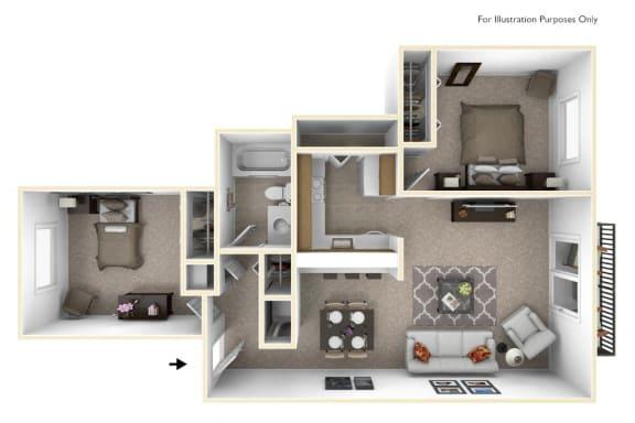 2-Bed/1-Bath, Constantia Floor Plan at The Springs Apartment Homes, Novi, Michigan