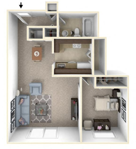 1-Bed/1-Bath, Lilac Floor Plan at The Springs Apartment Homes, Michigan