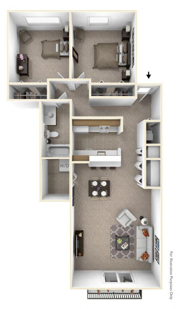 2-Bed/1-Bath, Lily Floor Plan at The Springs Apartment Homes, Novi, MI