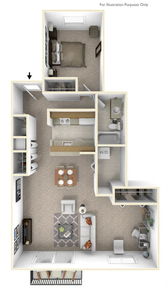 1-Bed/1-Bath, Peony Deluxe Floor Plan at The Springs Apartment Homes, Novi, Michigan
